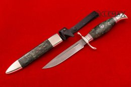 Chekist's knife (Bulat, Nickel silver, stabilized Karelian birch)