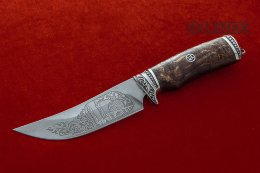 Vostochny knife (Bulat, deep etching, Nickel silver stabilized Karelian birch)