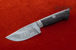 Skinning knife (Bulat, deep etching, Nickel silver, stabilized Karelian birch)
