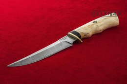 Knife Universal-1 (Damascus, Karelian birch)