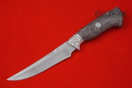 Knife Universal-1 (Bulat, Nickel silver, stabilized Karelian birch)