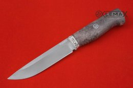 Knife Ural (Bulat, Nickel silver, stabilized Karelian birch)