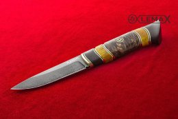 Zasapozhny knife - 2 (Bulat, stabilized Karelian birch, black hornbeam)